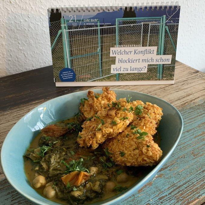 """Chickennuggets mit Curry und der """"Sonntagsfrage"""" auf dem Fastenkalender: """"Welcher Konflikt blockiert mich schon viel zu lange?"""""""